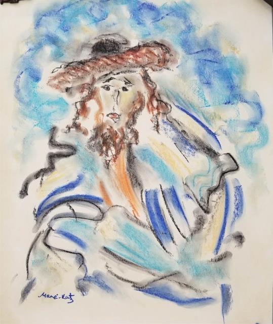 Mane katz signed abstract gouache on paper for Katz fine art