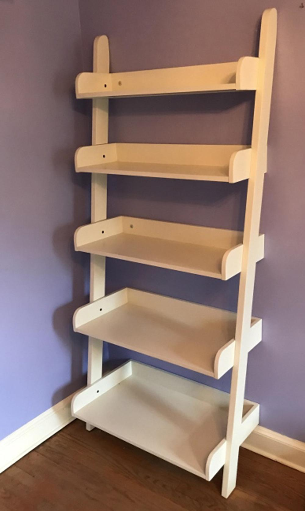 Contemporary White Step Ladder Form Bookcase