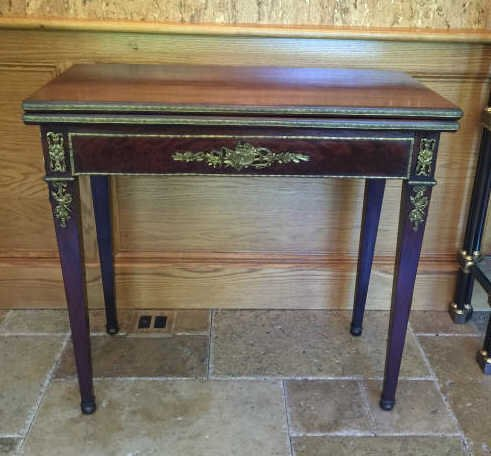 Antique 19th c french empire flip top games table for Table th rotate