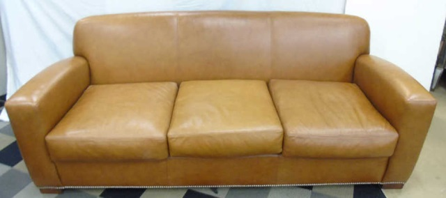 Ralph lauren studded brown leather grant sofa for Brown leather couch with studs