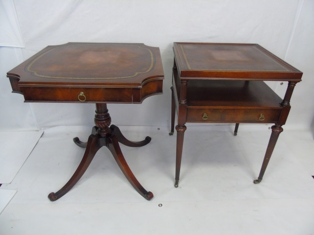Pair Antique American Leather Top End Tables