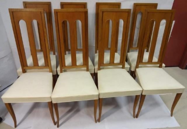 8 mid century white leather dining room chairs