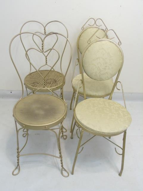 Four vintage wrought iron cafe dining chairs for Wrought iron cafe chairs