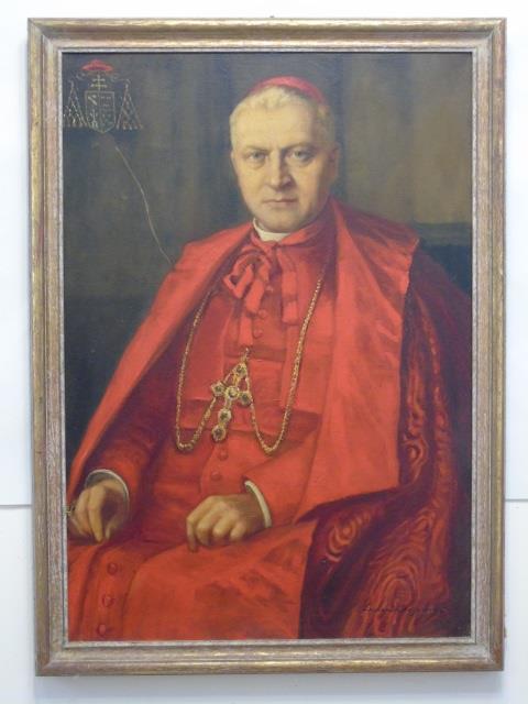 Antique Portrait Painting of a Catholic Cardinal