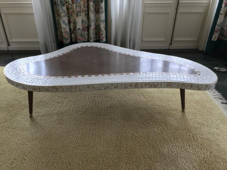 Mid Century Modern Mosaic Tile Top Coffee Table