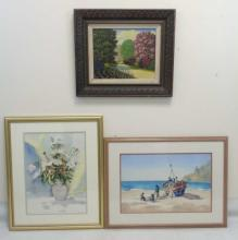 Two Framed Watercolors & an Antique Carved Frame
