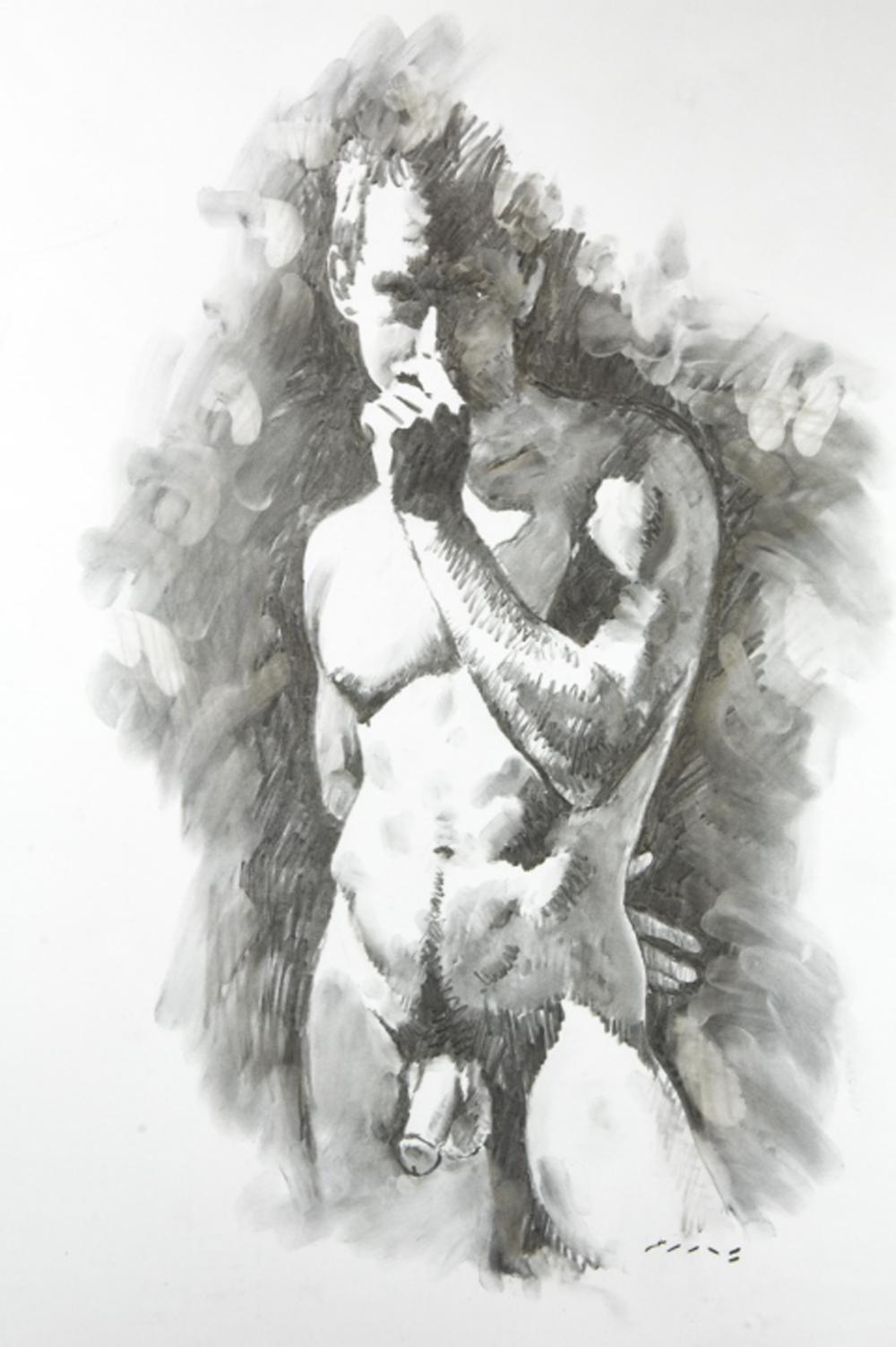 Erotic male nude pencil drawing signed ellis