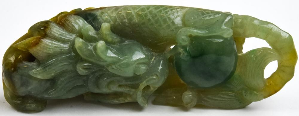 Chinese Hand Carved Jade Figural Dragon