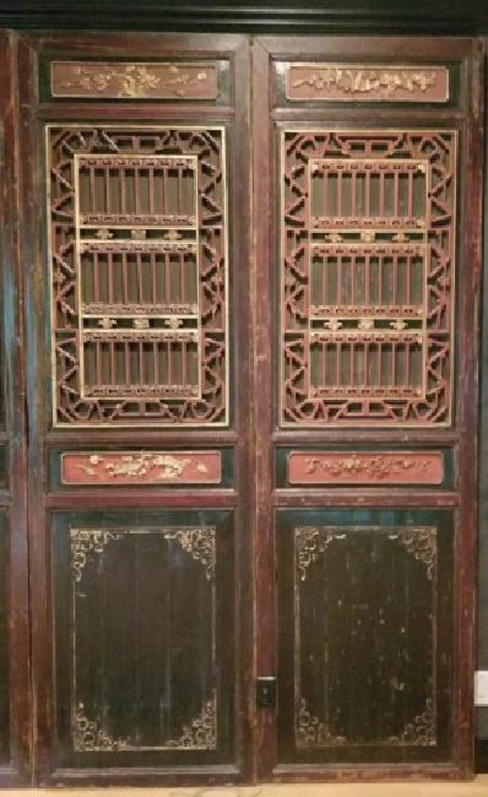 Pair Antique South East Asian Palace Doors / Panel