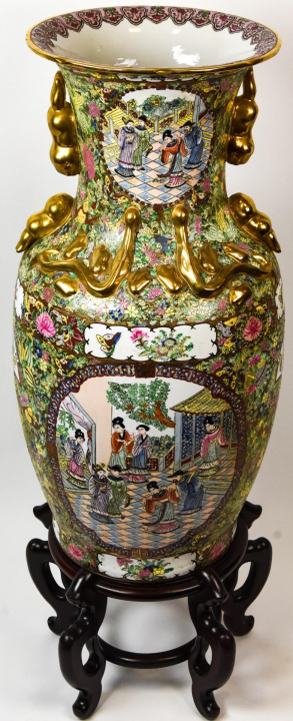 Palace Size Chinese Rose Medallion Vase W Stand