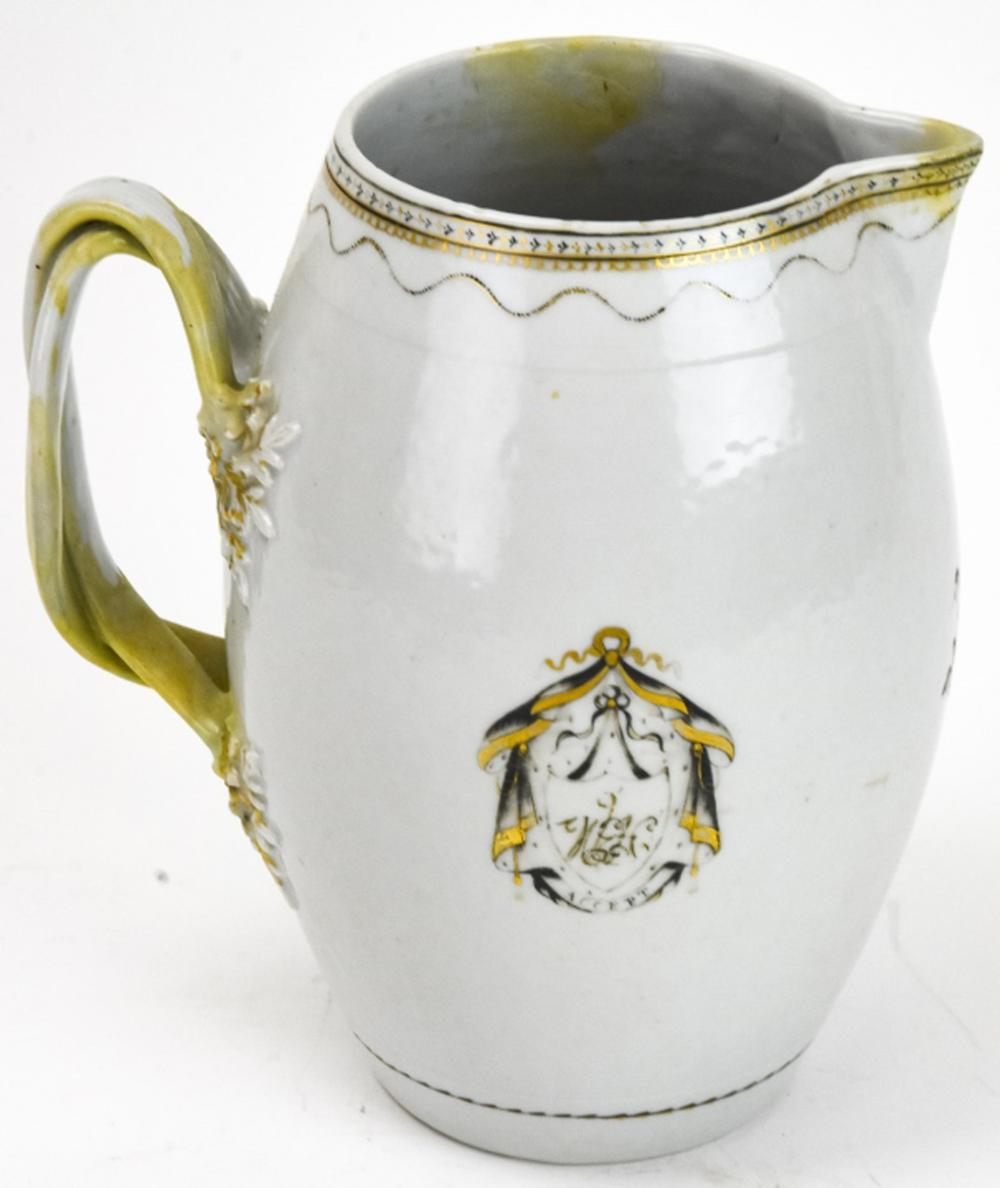 Chinese Export Porcelain Armorial Motif Pitcher