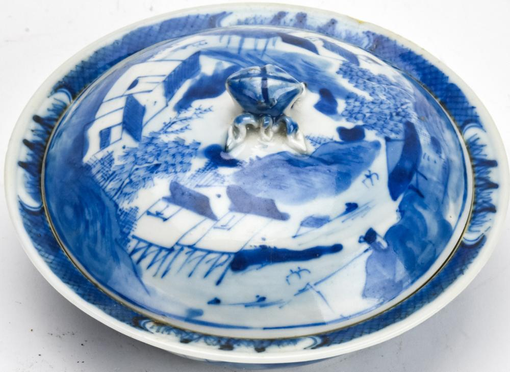 Chinese Blue & White Canton Porcelain Covered Dish