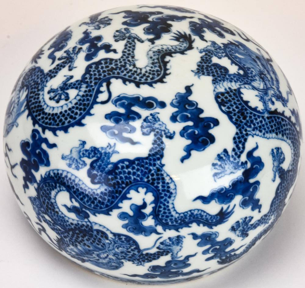 Chinese Blue & White Porcelain Dragon Arm Rest