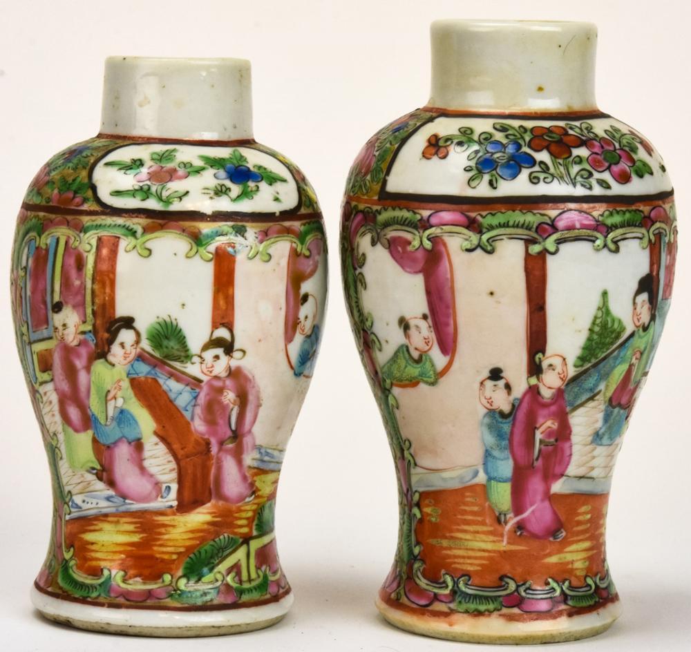 2 Chinese Porcelain Rose Medallion Garniture Vases