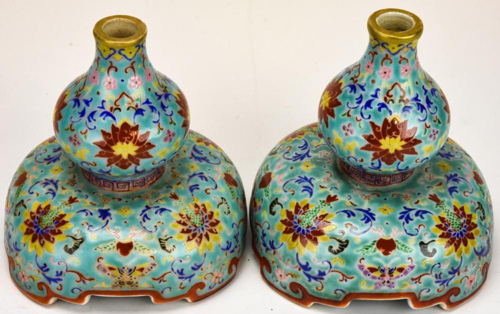Pair Chinese Enameled Porcelain Incense Burners