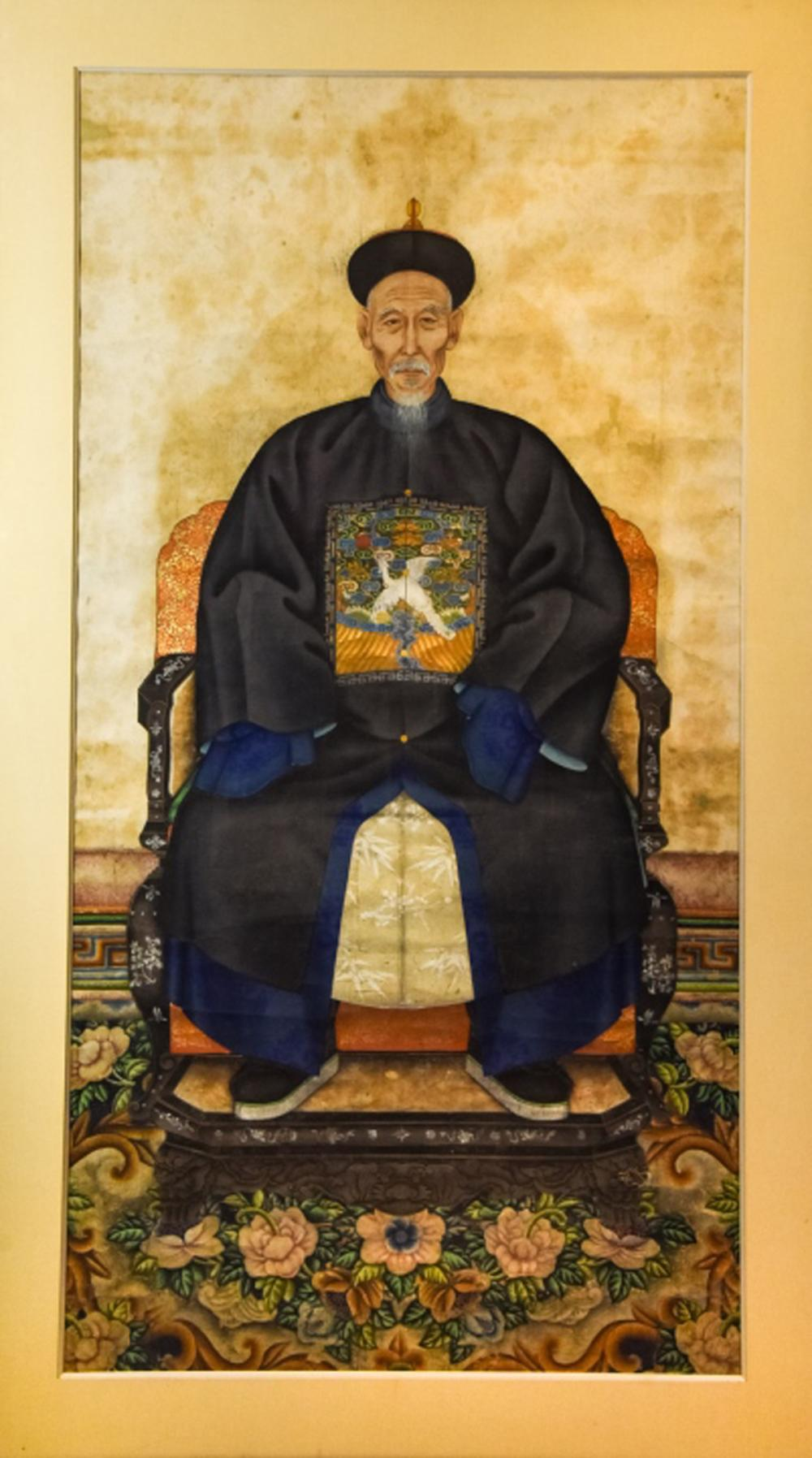 Chinese Qing Dynasty Ancestor Portrait Painting