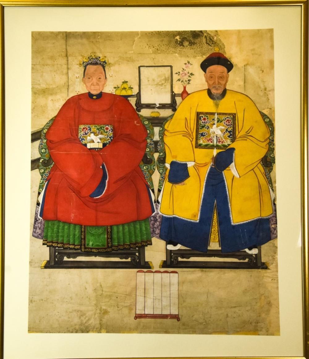 Chinese Male & Female Ancestor Painting