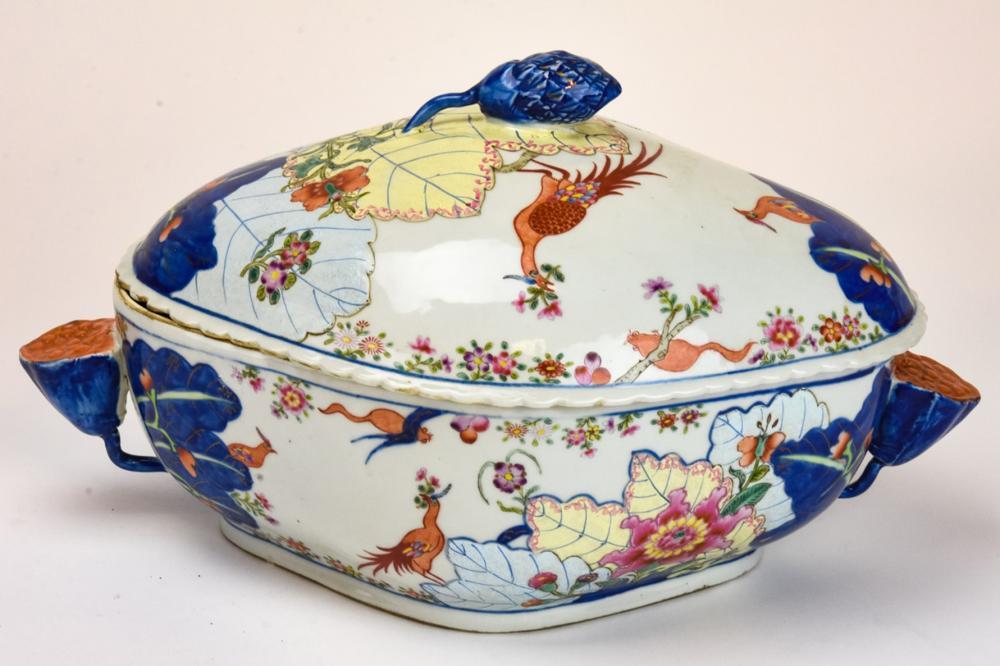 Chinese Porcelain Tobacco Leaf Tureen & Underplate