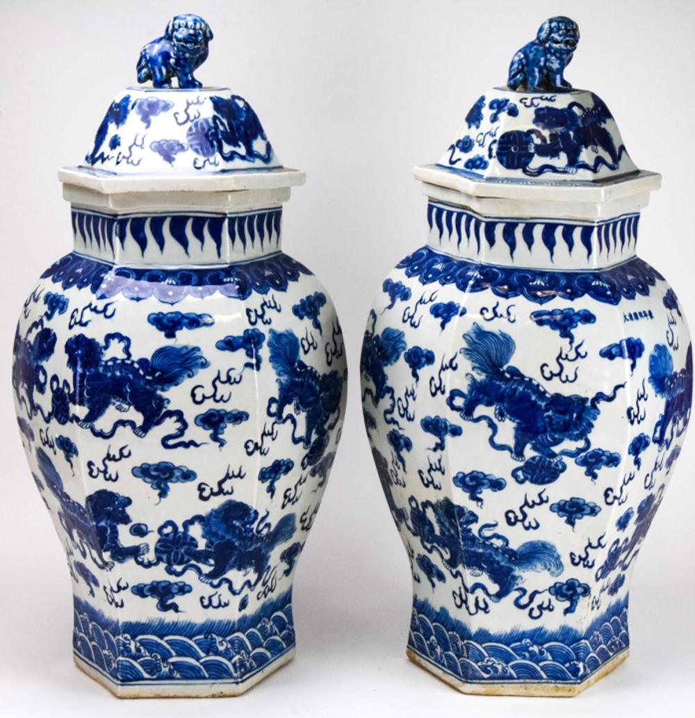 Pair Large Chinese Blue & White Ginger Jars