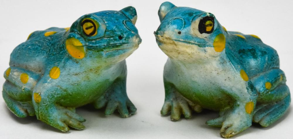 Pair of Chinese Hand Painted Figural Frog Statues
