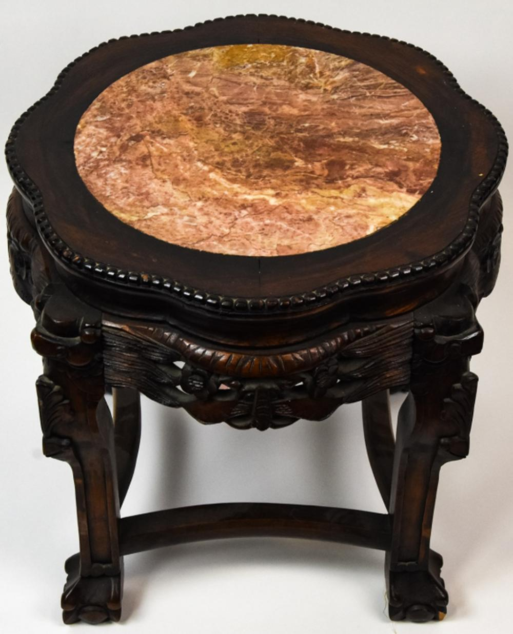Antique Chinese Hand Carved Marble Top Table