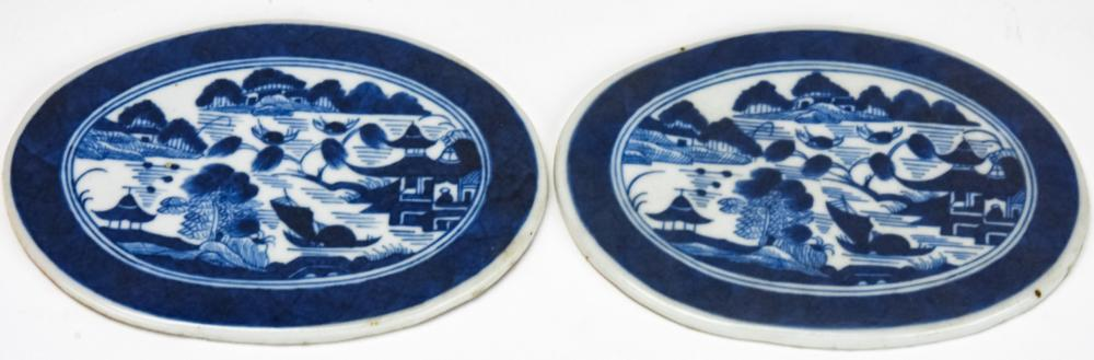 Pair Chinese Canton Blue & White Porcelain Plaques