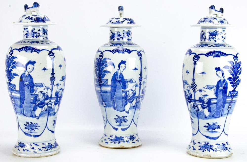 Antique Chinese Garniture Porcelain Vase Set