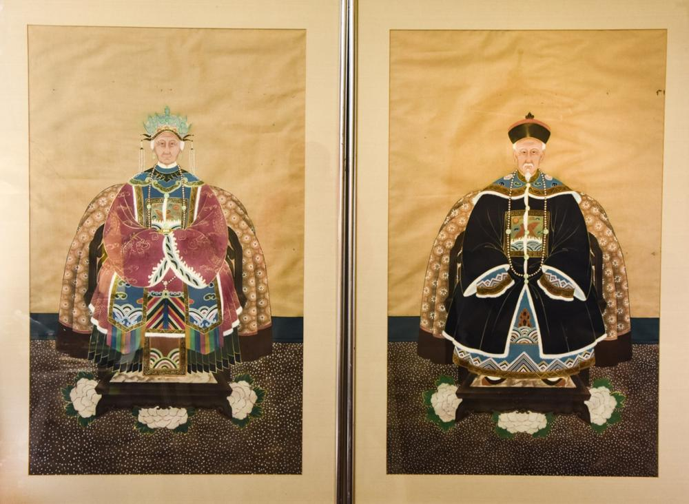 Early 20th C Chinese Portrait Paintings on Silk