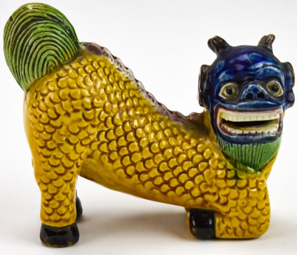 Chinese Porcelain Hand Painted Figural Foo Lion