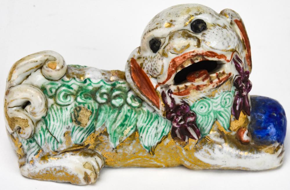 Chinese Porcelain Figural Foo Lion Brush Rest