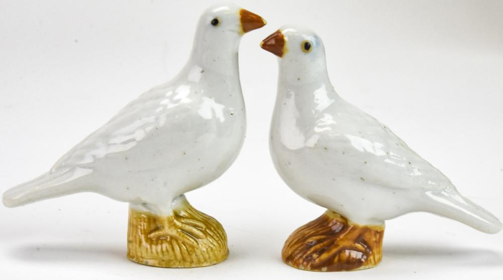 2 Antique Chinese Porcelain Figural Dove Statues