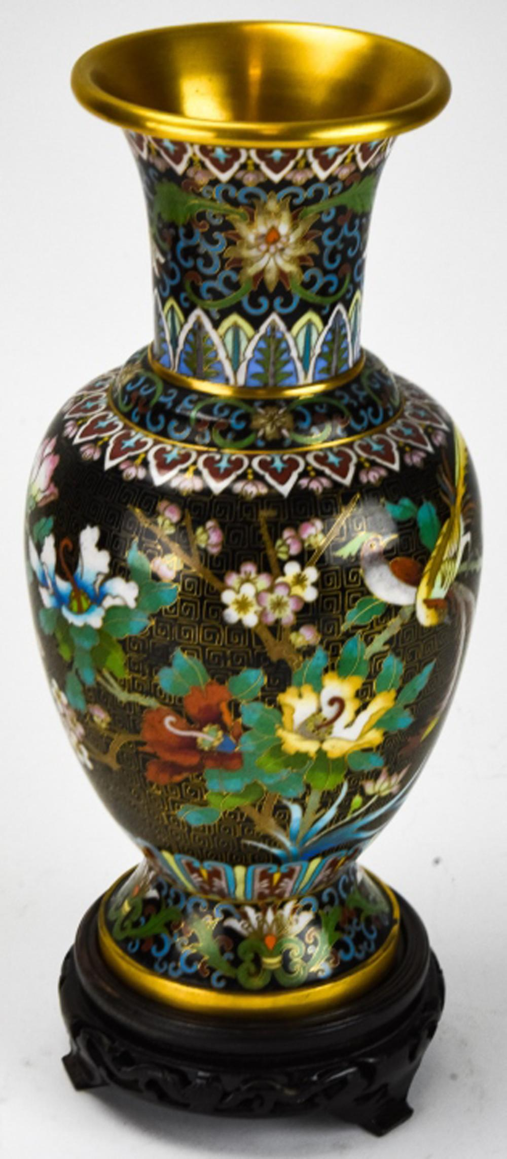 Chinese Hand Painted Cloisonne Vase