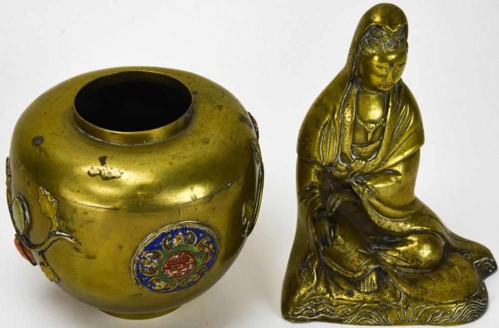 2 Chinese Brass Table Articles
