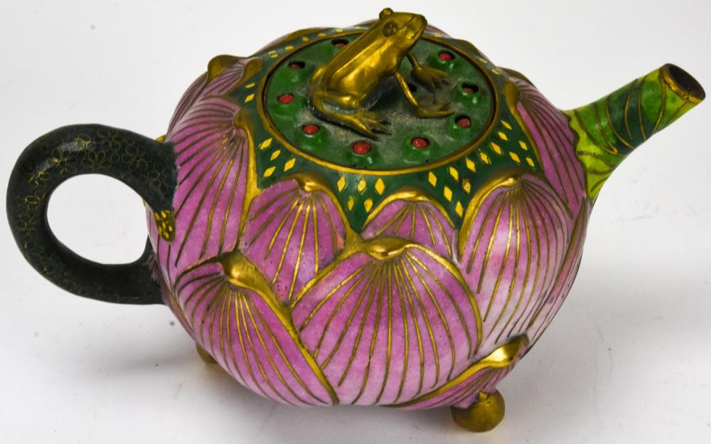 Chinese Cloisonne Figural Lily Pad Teapot