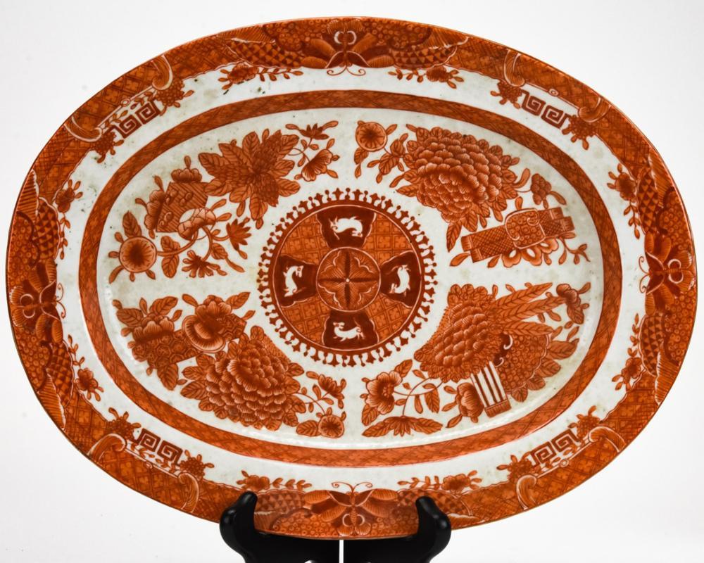 Chinese White & Orange Porcelain Fitzhugh Platter