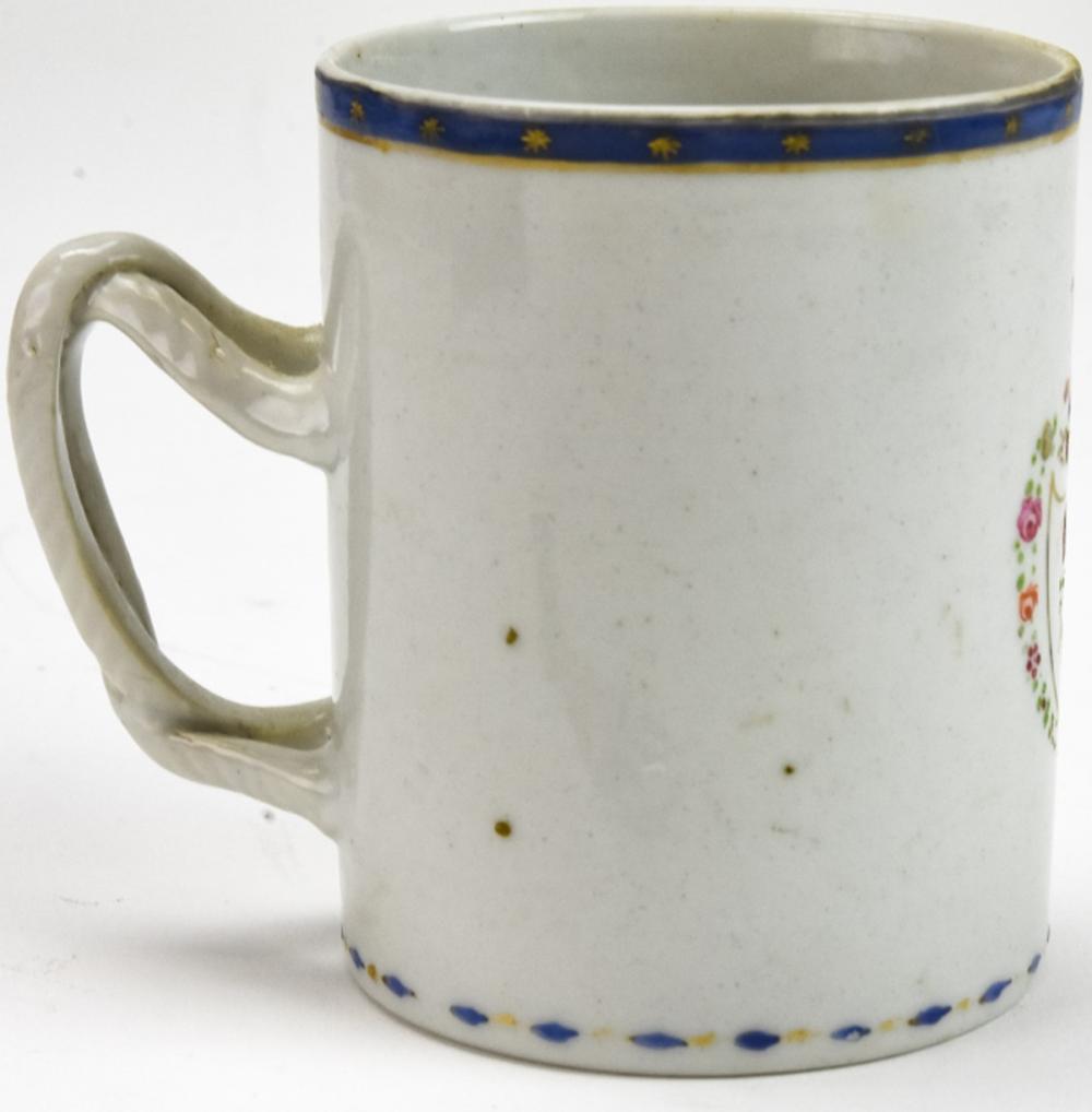 Antique 18th Century Chinese Export Armorial Mug