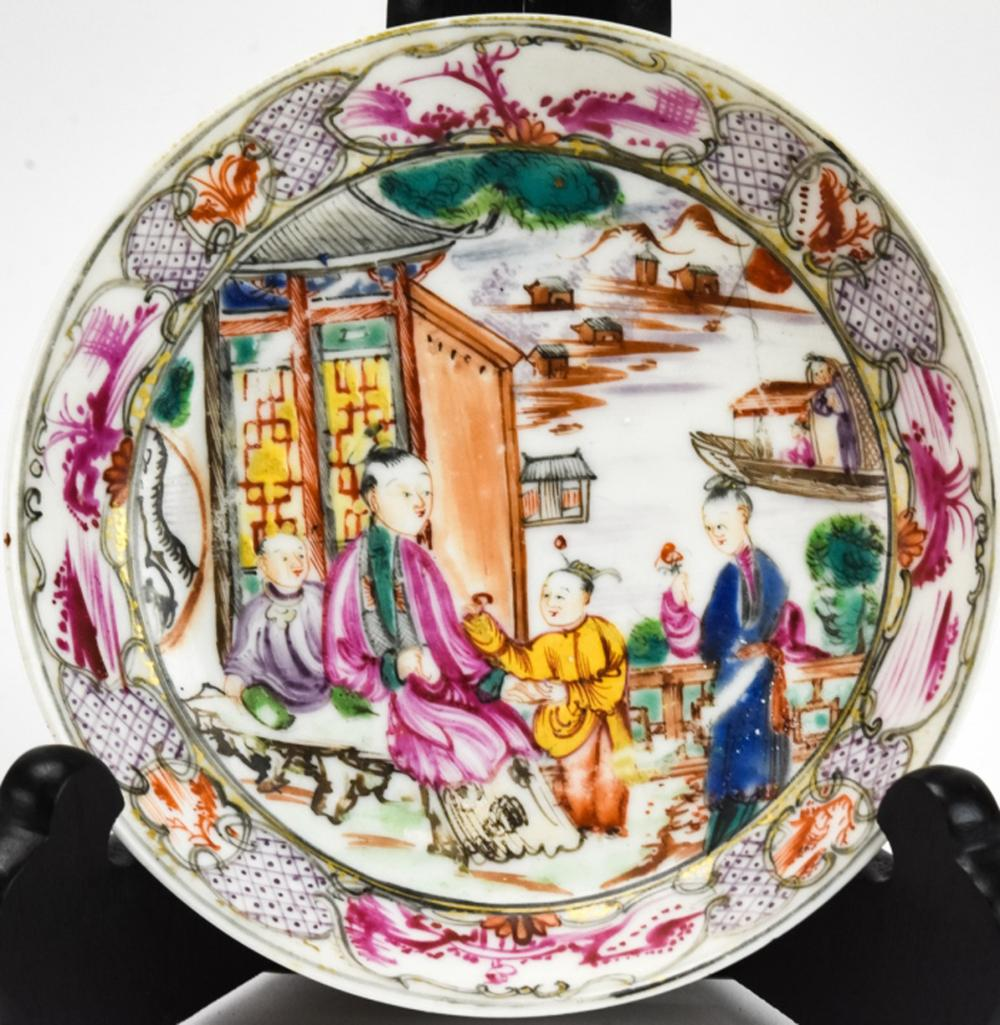 Antique Chinese Famille Rose Porcelain Saucer Dish