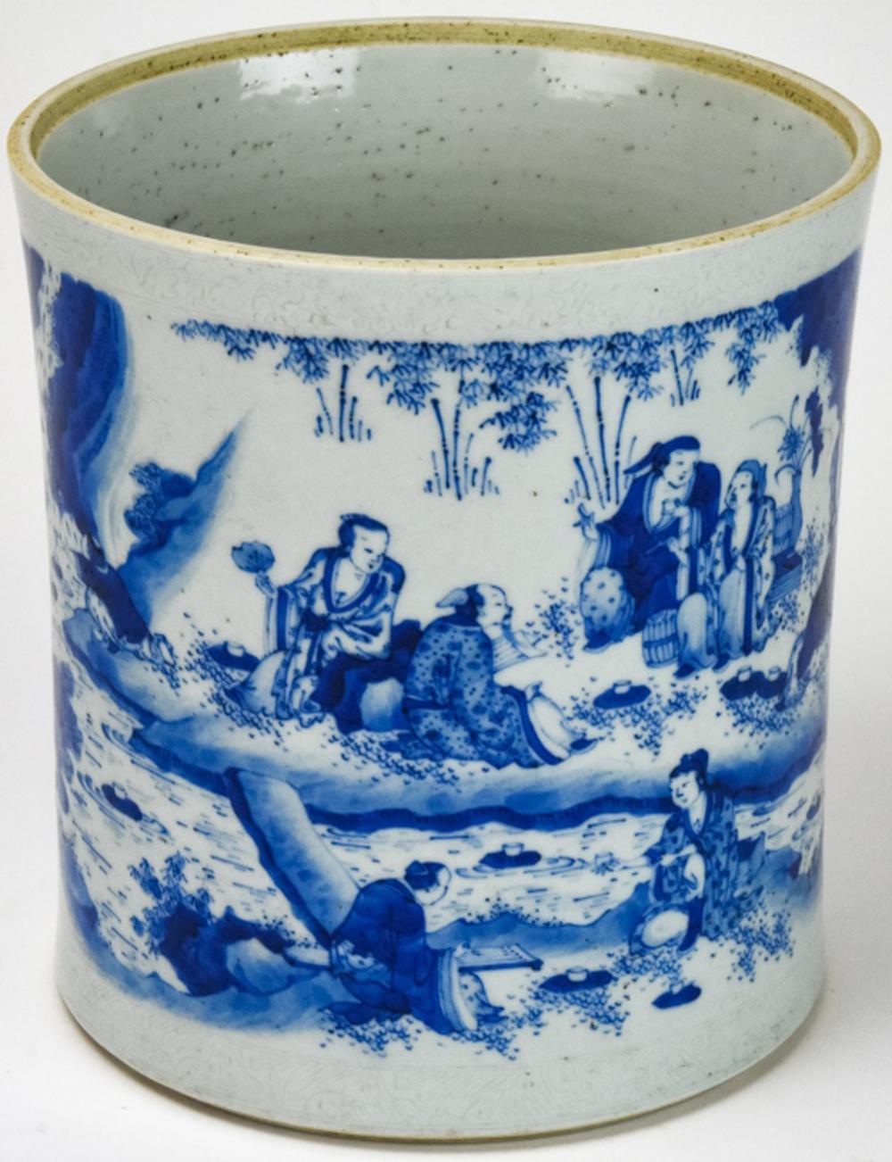 Antique Chinese Blue & White Porcelain Brush Pot