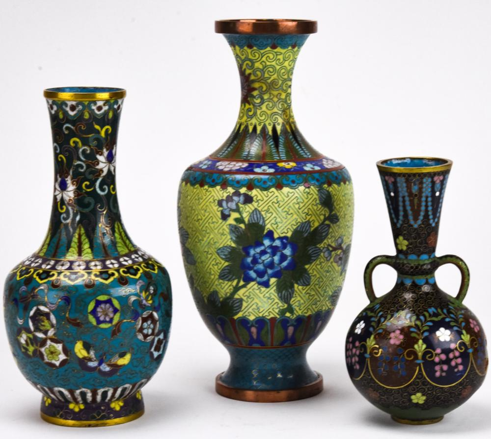 3 20th Century Chinese Cloisonne Vases