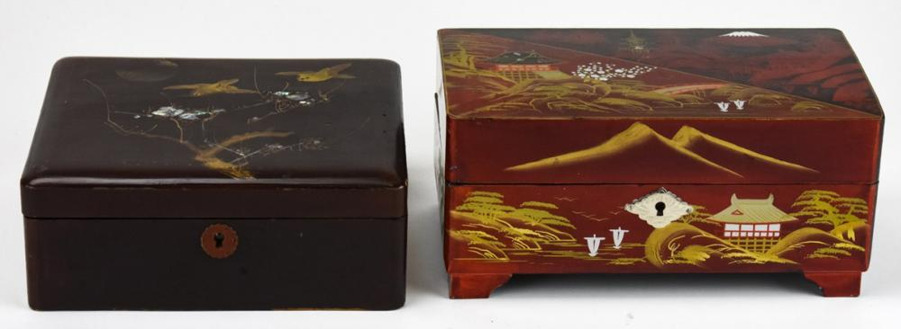 2 Japanese Lacquer & Mother of Pearl Jewelry Boxes