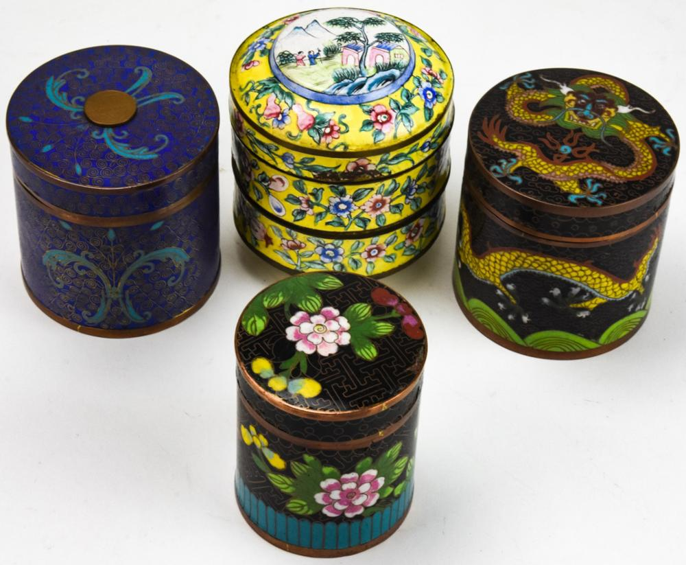 4 20th Century Chinese Cloisonne Tea Canisters