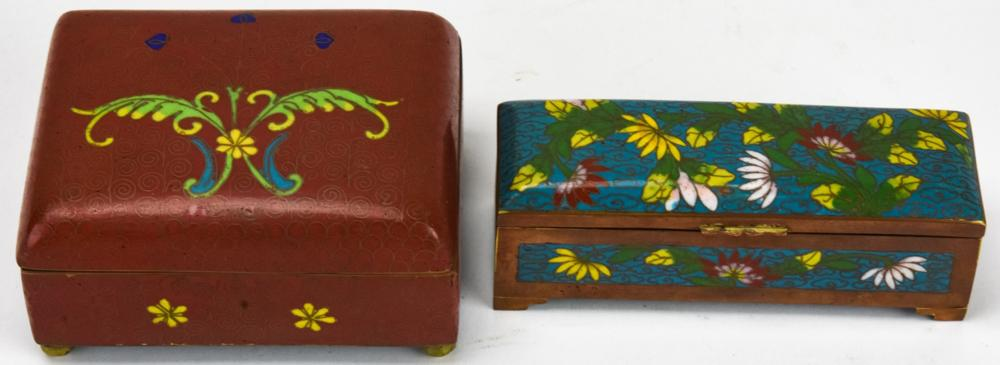 2 20th Century Chinese Cloisonne Table Boxes
