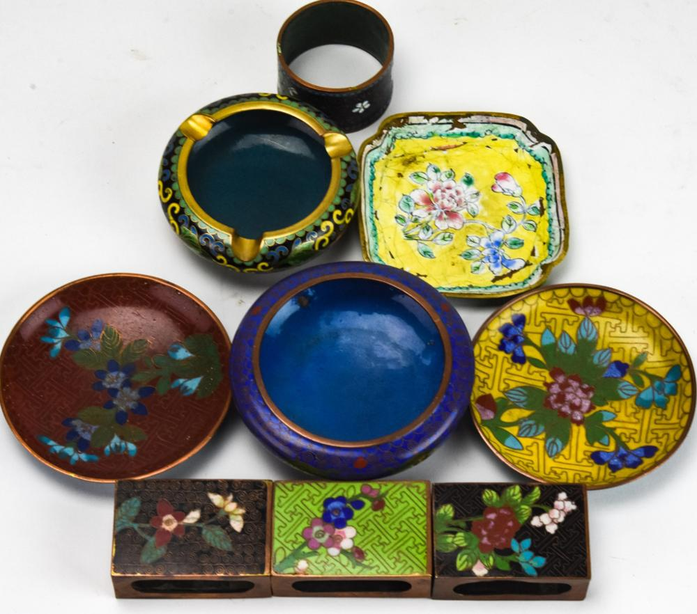 20th C Chinese Cloisonne Ash Trays & Match Boxes