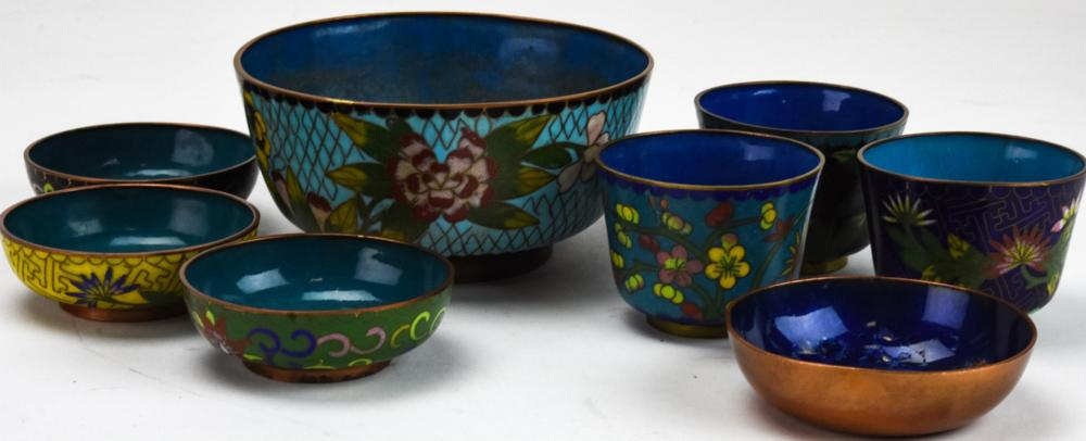 20th Century Chinese Cloisonne Bowls & Tea Cups