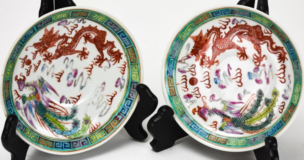 2 Chinese Nyonya Ware Porcelain Saucers - Signed