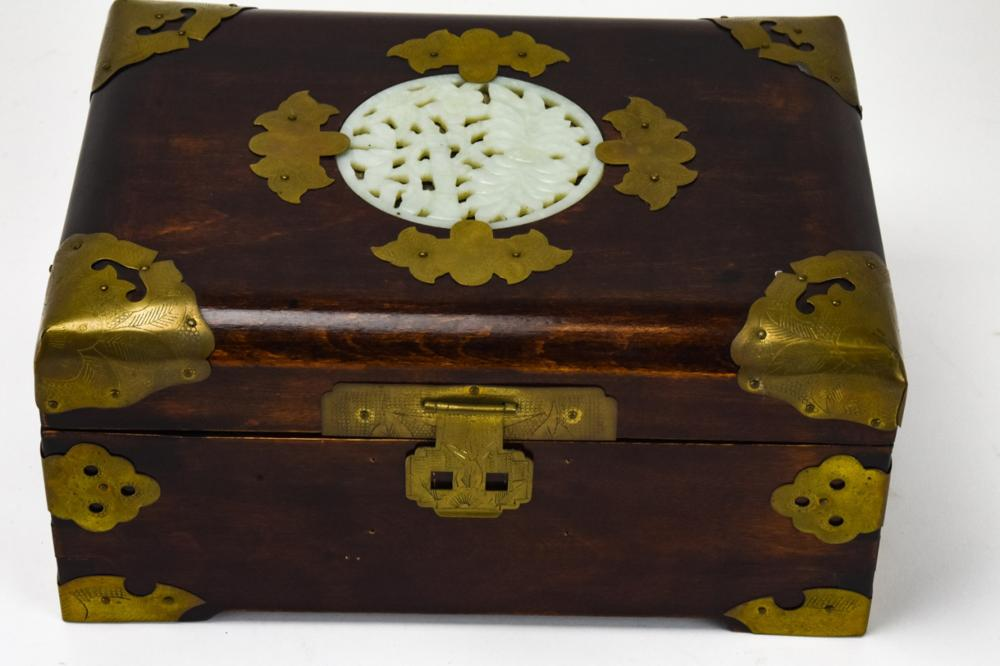 Chinese Wooden Jewelry Box With Hardstone Motif