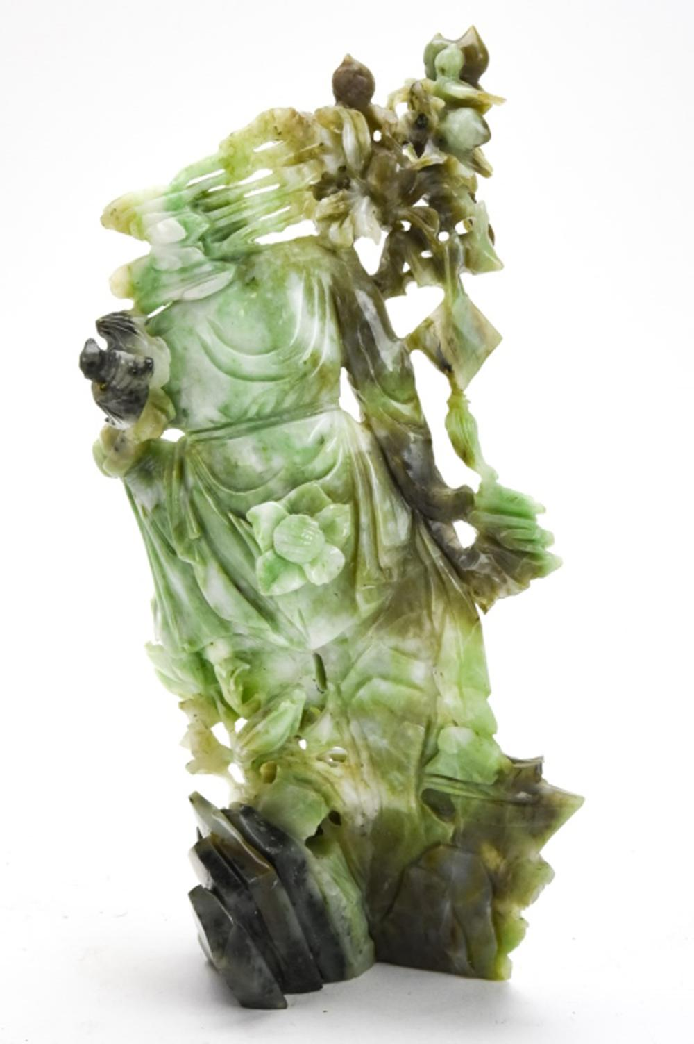 Chinese Hand Carved Jade Figural Sage Statue