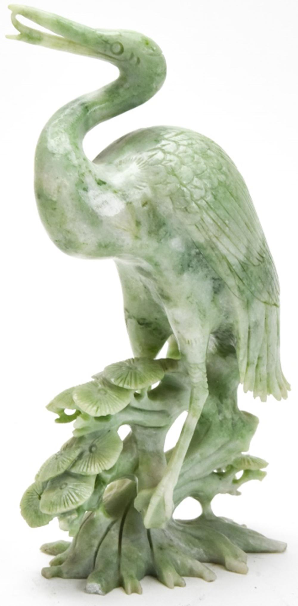 Chinese Hand Carved Jade Figural Crane