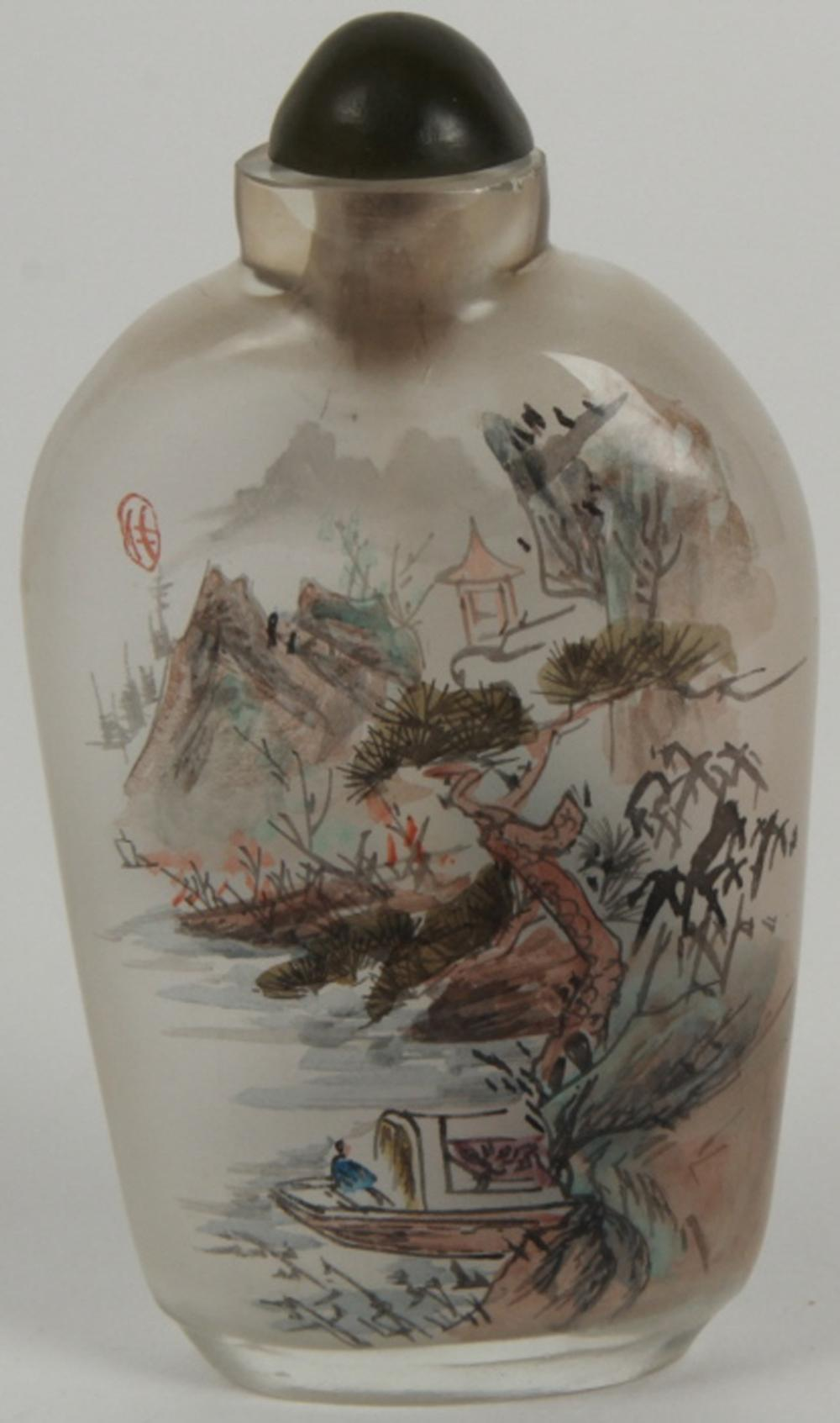 Chinese Reverse Painted on Glass Snuff Bottle