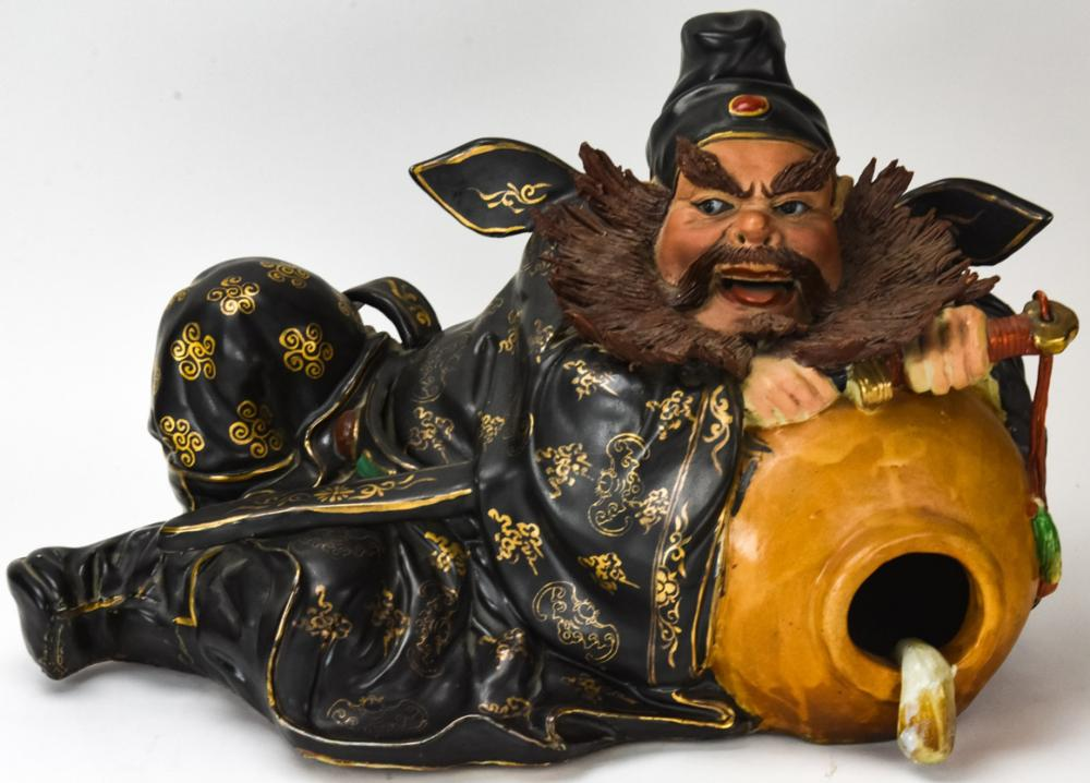 Large Chinese Porcelain Sage With Fish Statue